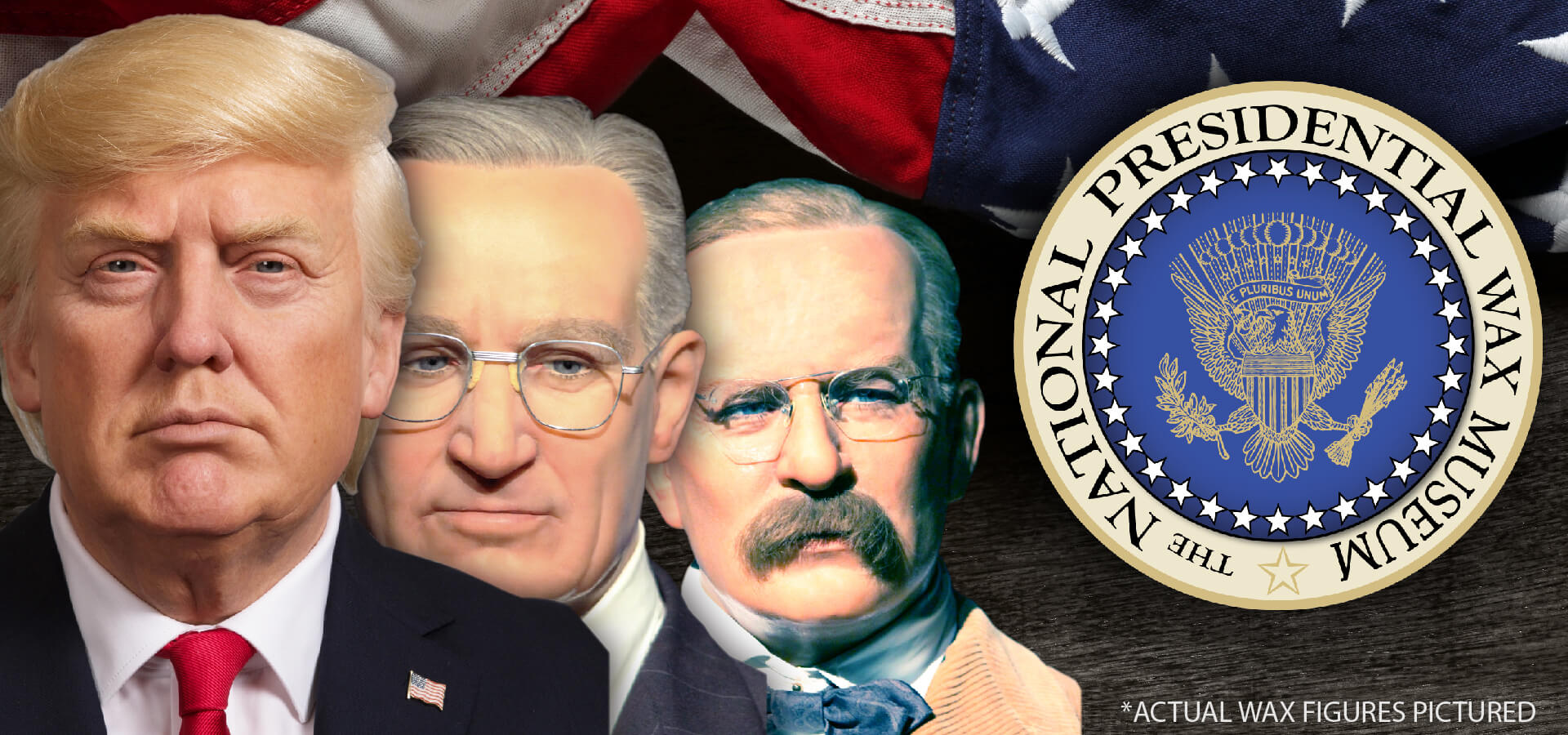 This slide shows the faces of three US Presidents along with the Presidential Seal. The Presidents include, Donald Trump, Calvin Coolidge, and Theodore Roosevelt.