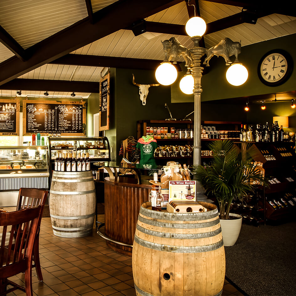 Interior photo of the Grapes and Grind Coffee Shop and Wine Bar