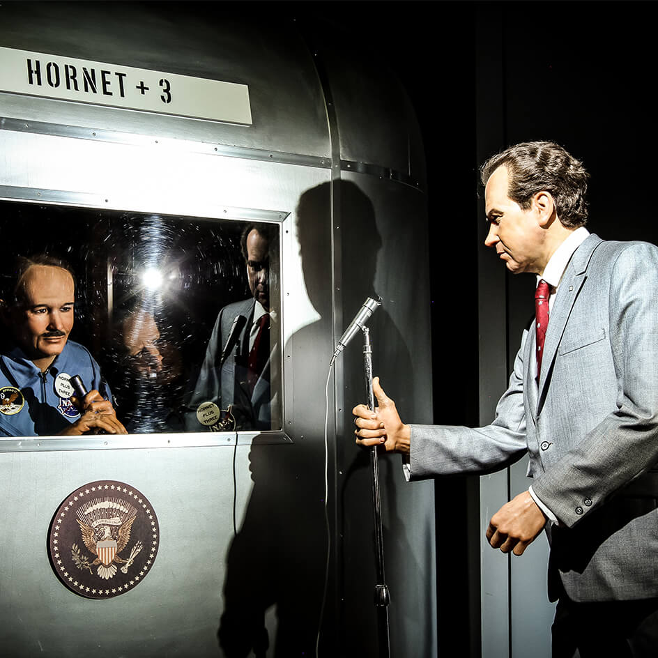 Richard Nixon welcoming the Apollo XI Astronauts after their return to earth.