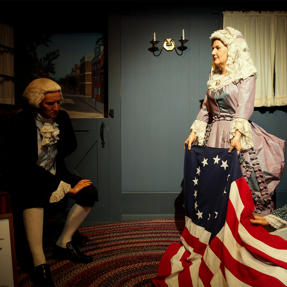 Washington and Ross with the original US Flag